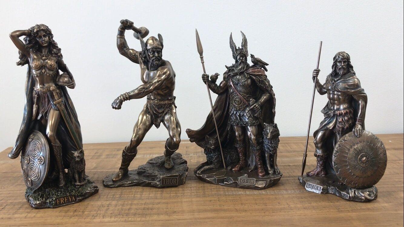 Conjunto de 4 Odin, Freya, Thor, & Baldur Norse dioses estatuas esculturas Ragnarok