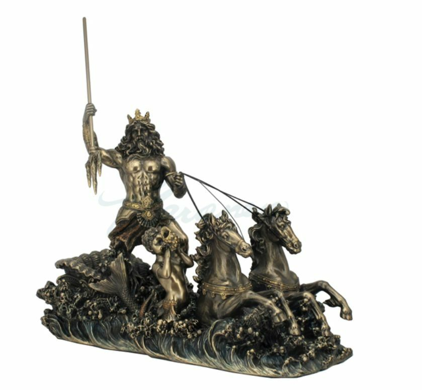 Poseidon On Hippocampus Chariot Statue Sculpture Figure