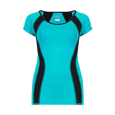 Marks & Spencer Womens Sports Top Short Sleeve Cotton Rich M&S Fitness Gym Shirt