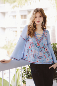 JOHNNY-WAS-Top-Workshop-OMAN-LACEUP-SWING-BLOUSE-Embroidered-Tunic-S-258