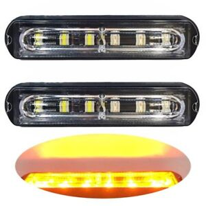 2x Car Truck 6 LED Strobe Light Flash Emergency Hazard Warning Amber Lamp 12-24V