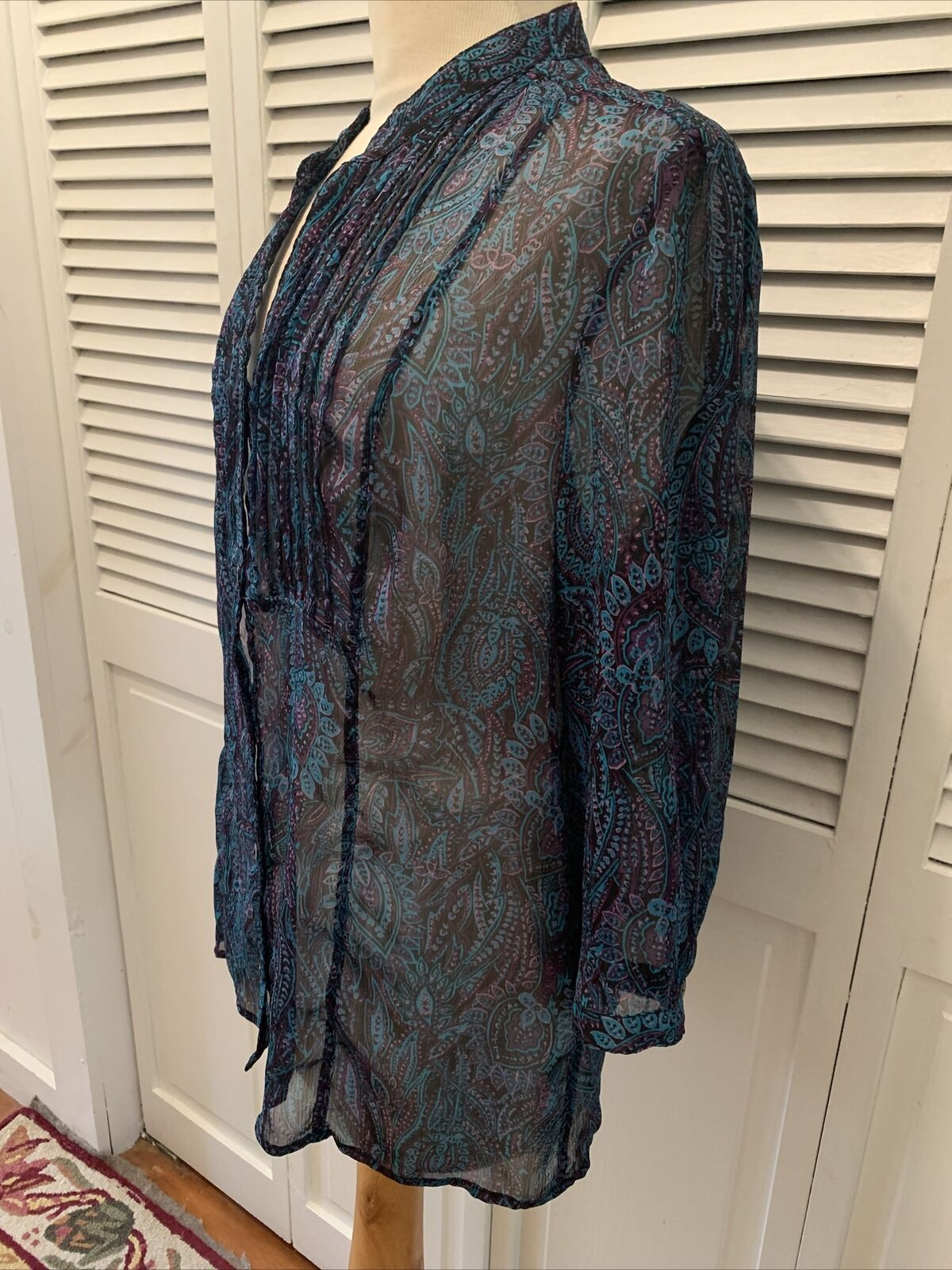 Christopher and banks women's blue paisley blouse… - image 4