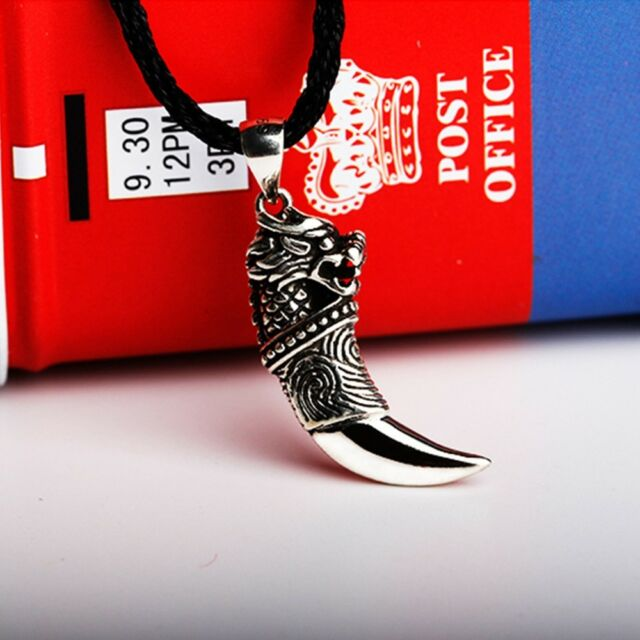 Leather Chain Stainless Steel Titanium Retro Necklace Wolf Tooth Pendant Totem