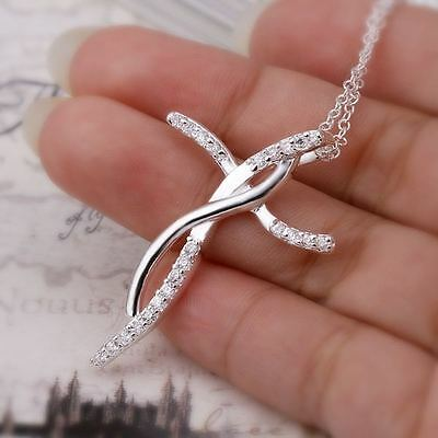 Pretty Fashion charms Silver Beautiful Crystal Cross women Necklace jewelry new