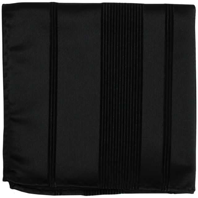 New Men's Polyester Woven pocket square hankie only black pin stripes formal