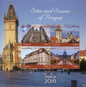 Guyana-2018-MNH-Sites-amp-Scenes-of-Prague-4v-M-S-Architecture-Tourism-Stamps