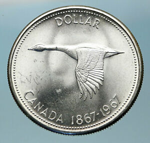 1967-CANADA-Confederation-Founding-OLD-Goose-Genuine-Silver-Dollar-Coin-i83803