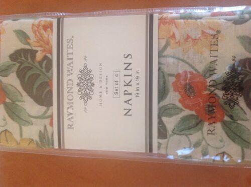 NIP RAYMOND WAITES STUDIO NAPKINS CREAM ORANGE GOLD GREEN FLOWERS 20 x 20 4