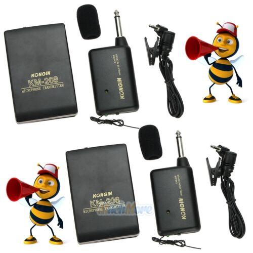 2x Wireless FM Transmitter Receiver Lavalier Lapel Clip Microphone Mic System