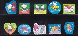 JAPAN-2013-HELLO-KITTY-amp-MY-MELODY-SUMMER-GREETING-80-YEN-COMP-SET-10-STAMP-USED