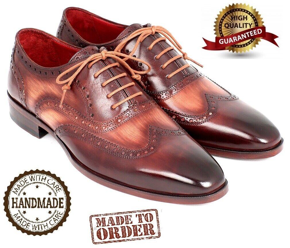ORIGINAL Paul Parkman Leather Man shoes Two Tone Wingtip Oxfords Handmade Brown