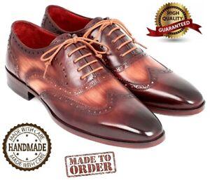 98e6d3587313f Details about ORIGINAL Paul Parkman Leather Man Shoes Two Tone Wingtip  Oxfords Handmade Brown