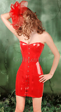 Gothic Red Corset Dress PVC Vinyl Bustier Size S Clubwear Punk GL A2749_red