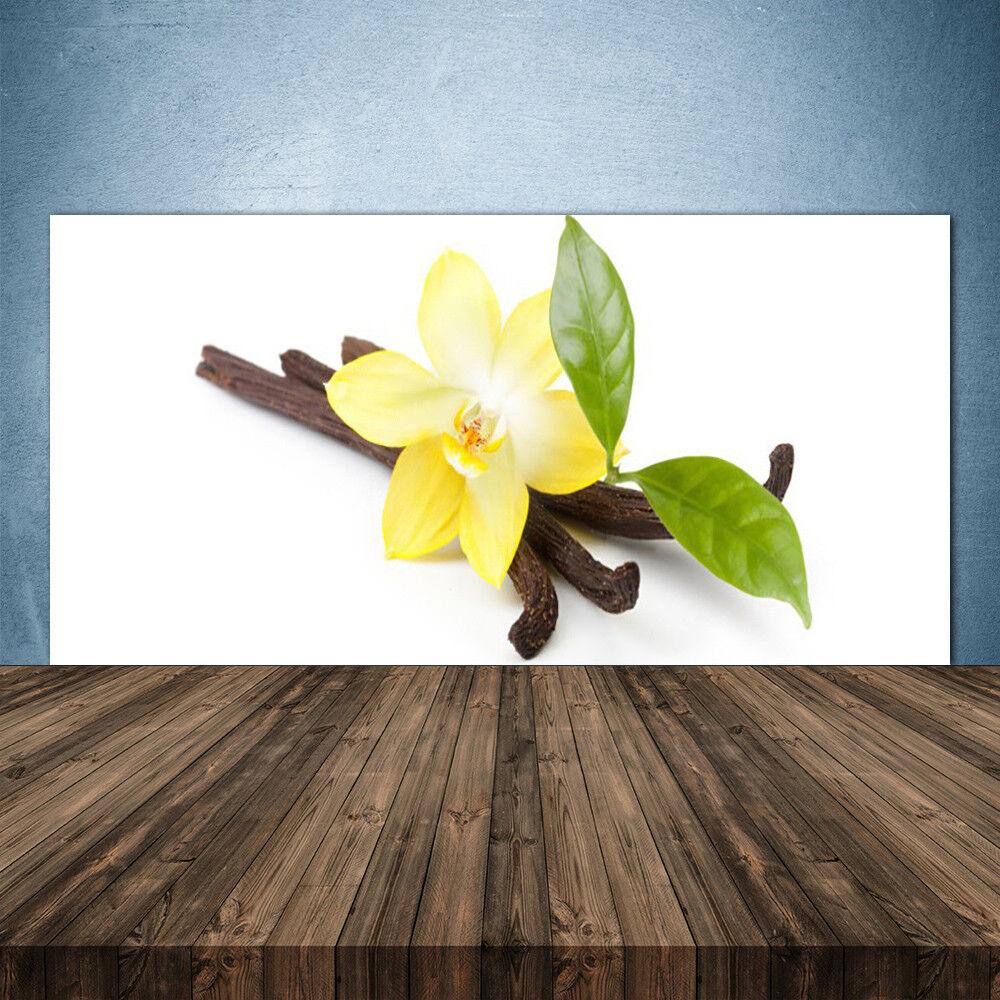 Crédence de cuisine en verre Panneau 140x70 Floral Feuilles Vanille