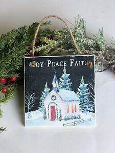 Country Church Christmas Tree Ornament Farmhouse Rustic Decor Christian Vintage Ebay