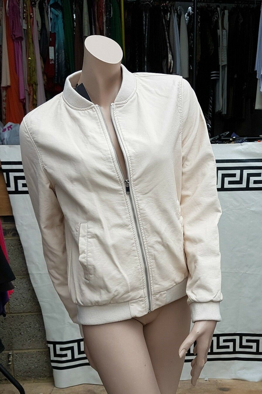 BNWT Atmosphere UK 14 Smart Cream Nude Faux Leather Zip Jacket Blazer Coat