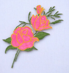 PINK-ROSE-FLOWER-Embroidered-Sew-Iron-On-Cloth-Patch-Badge-APPLIQUE-REF-AA3