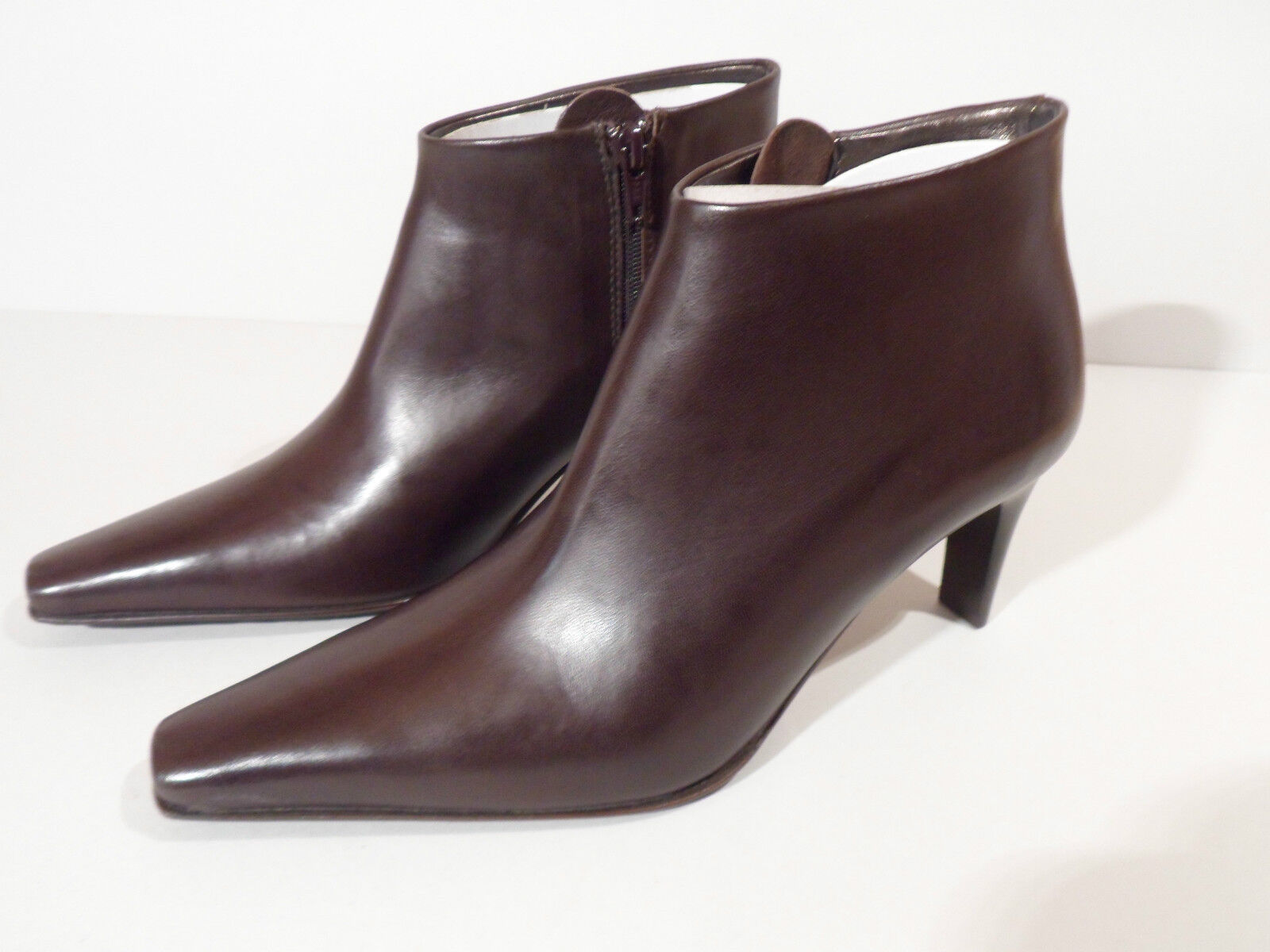 Moda Di Fausto Ladies Brown Leather Sole Ankle Boot with Heel Italian