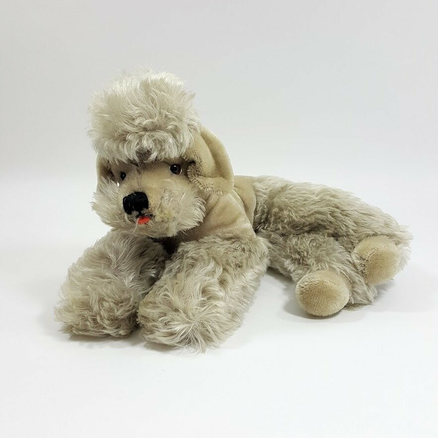 Vintage Steiff SNOBBY Mohair Poodle Dog Laying Down Ear Button 14
