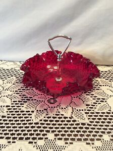 Vintage-Fenton-Ruby-Red-Hobnail-7-3-4-034-Candy-Dish-With-Metal-Handle