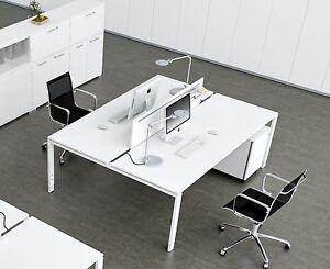 schreibtisch f r 2 personen glider doppelarbeitsplatz teamschreibtisch b rom bel ebay. Black Bedroom Furniture Sets. Home Design Ideas