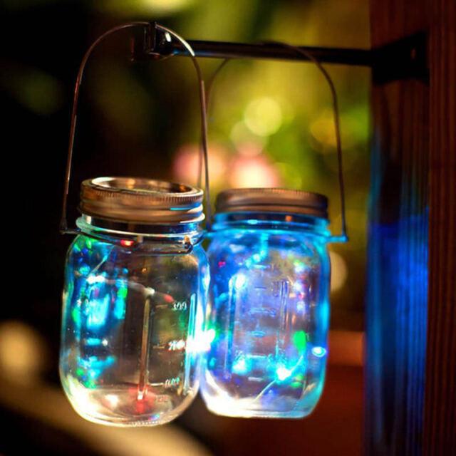 Mason Jar Solar Lid Light Up String Hanging Lantern 10 Led Ed Canning Decor For Online Ebay