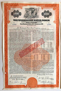 Washington-Water-Power-Company-gt-1-000-bond-certificate-with-coupons