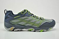 Mens Merrell Moab Fst Trail Running Shoes Size 7 Navy Blue Grey Green J36925