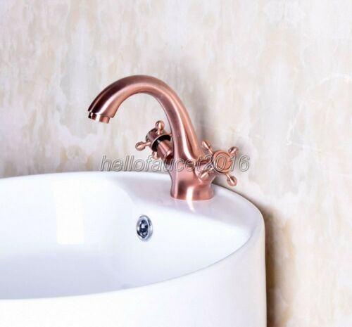 Red Copper Dual Handle Faucets Bathroom Faucet basin Sink mixer tap lnf252