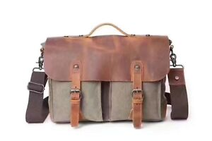 portable Sacoche homme Bag pour Sac Briefcase 14 ordinateur Canvas Messenger Leather 14 pour bandoulière Shoulder Briefcase cuir Men's Messenger en qfaI0fvx