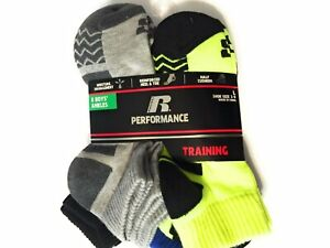 9-2.5 Russell Performance Active 3-Pairs Boys Ankle Socks Size M White//Gray