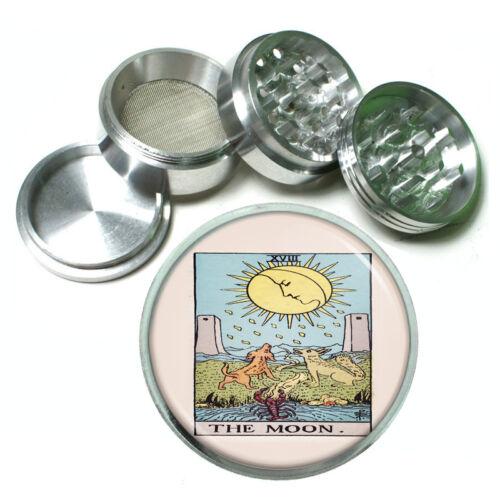 """Tarot Card D20 Aluminum Herb Grinder 2.5/"""" 63mm 4 Piece XVIII The Moon"""