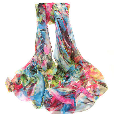 "Women/'s 100/% Satin Silk Scarf Abstract Multi-colored 68/"" X 42/"""