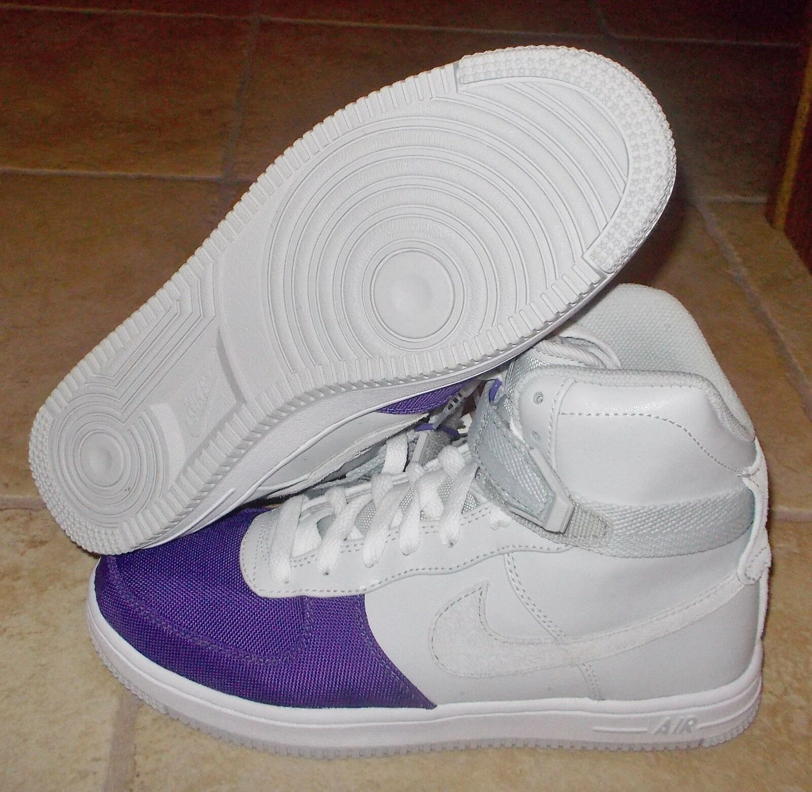 NEW NIKE AIR FEATHER HI HIGH Womens 6.5 Gray Purple force 1 LTD NR