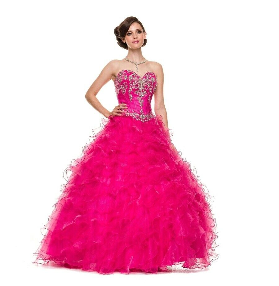 NEW Quinceanera Sweet Sixteen Ball Gown Fuchsia Ruffles Dress size XL