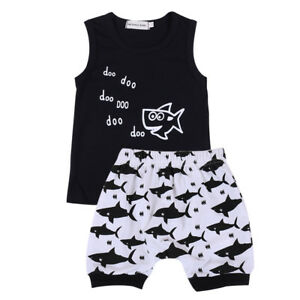 2 PCs Newborn Baby Boy Girl Summer Baby Shart Doo Sleeveless Top Short Pants Clothes Set