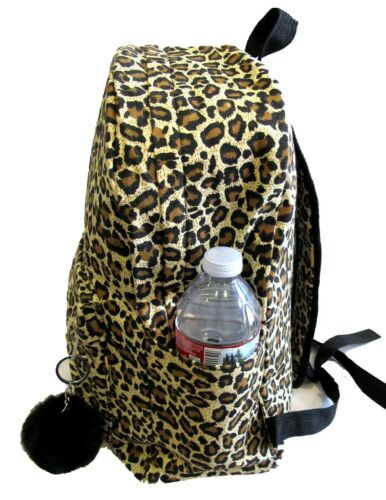 """Leopard Lady/'s 16/"""" Cotton Canvas Backpack School Casual Travel Bottle Key Ring"""