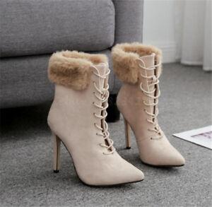 Winter Stiefel Damen Ankle Boots High Heels Kunst-Pelz Stiefeletten ... 6a4bef376d