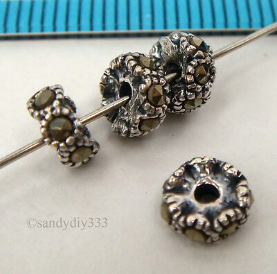 4x ANTIQUE STERLING SILVER MARCASITE STONE RONDELLE SPACER BEAD 6mm #2277