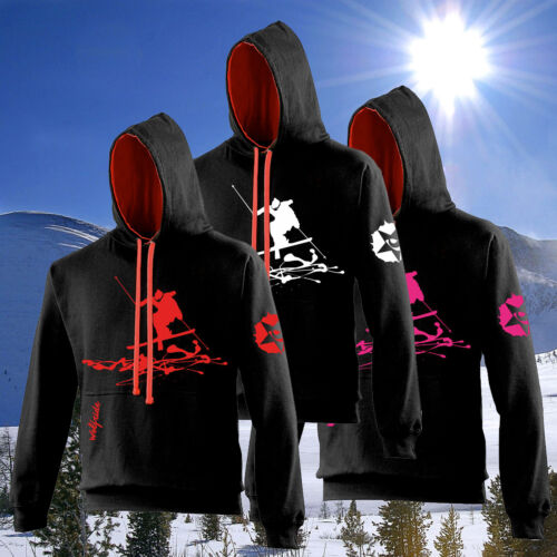 Black Mens ski, snow season hooded top black and fire red skiing, skier