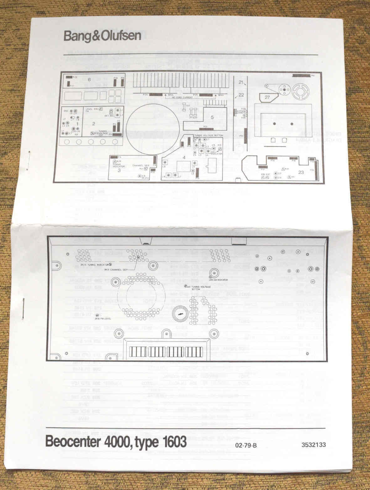Bang  U0026 Olufsen Beocenter 4000  Type 1603 Wiring Diagrams