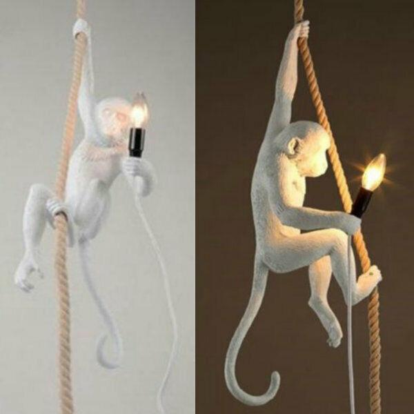 Loft Vintage Resin Hemp Rope Monkey Pendant Light Fixture Be