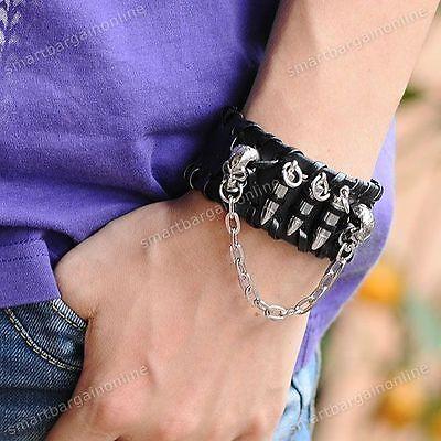 NEU! PUNK EMO Totenkopf Geschoß Fesseln Lederarmband Herren PU Chain Armbänder
