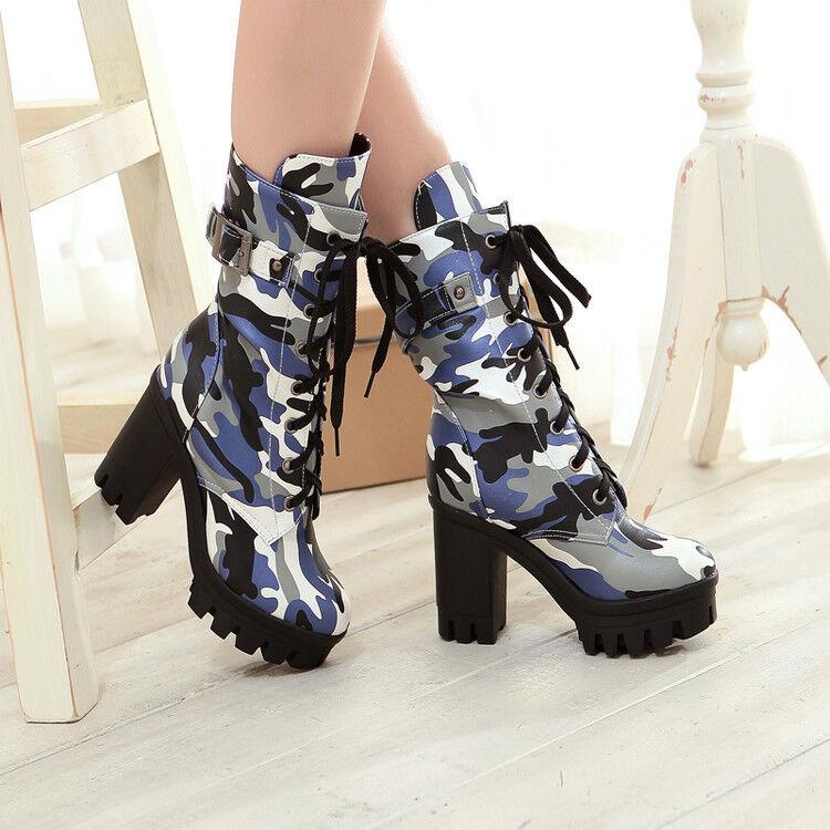 Zapatos Zapatos Zapatos De Cuero señoras Camuflaje Combate botas al Tobillo Tacones De Bloque tire de nuevo ejército  diseño simple y generoso