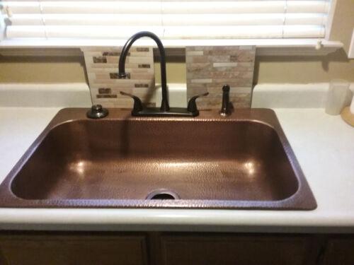 Sinkology Sk101 33ac 4 Hole Drop In Single Basin Antique Copper 33 Kitchen Sink