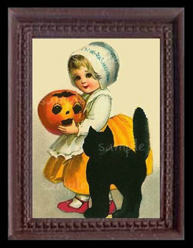 Halloween Girl /& Cat Miniature Dollhouse Picture