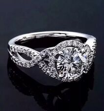 1.10 CTW ROUND CUT NATURAL DIAMOND INFINITY HALO ENGAGEMENT RING 14K WHITE GOLD