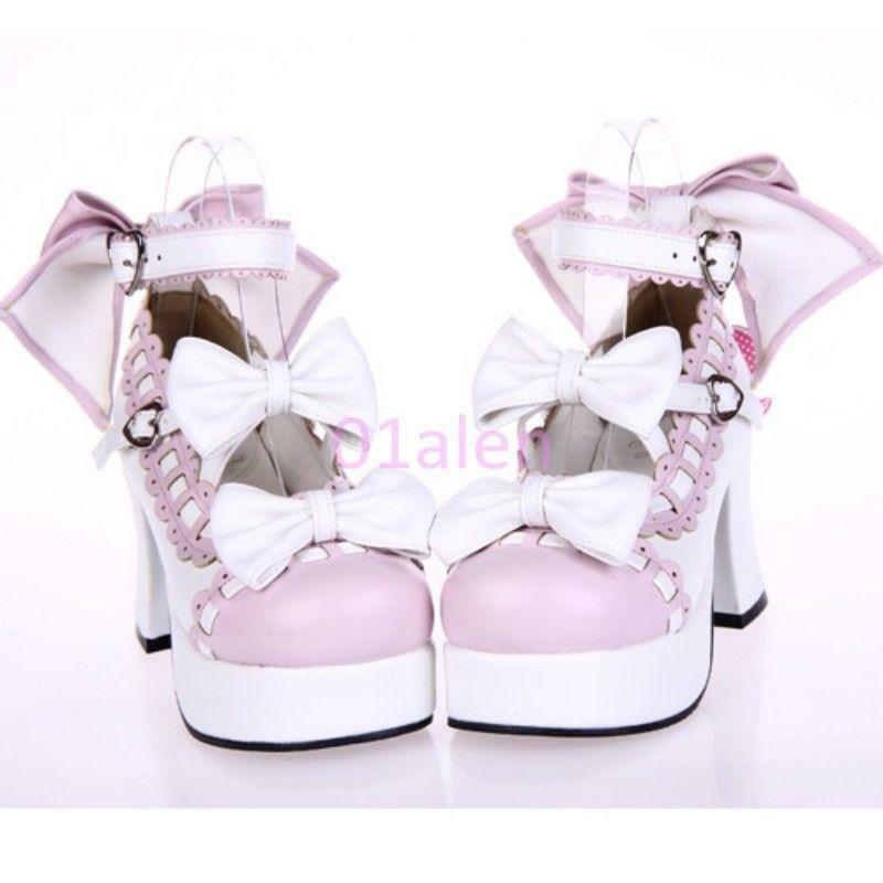 a buon mercato Cosplay donna Mary Janes Lolita Block Heels Bowknot Bowknot Bowknot Platfrom Ankle Strap scarpe  fino al 70% di sconto