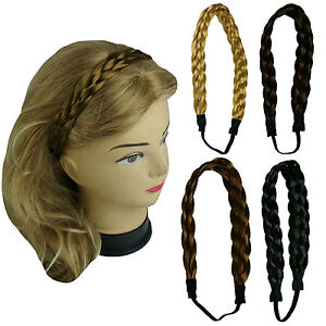 synthetic hair band plaited headband braided with elastic