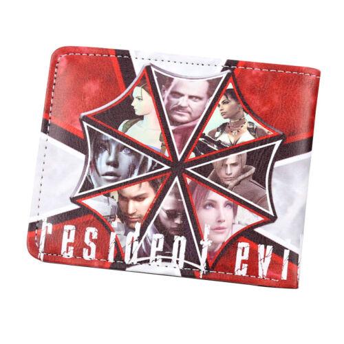 Game Resident Evil Men Bi-fold Wallet Red Umbrella Biohazard Short Purses